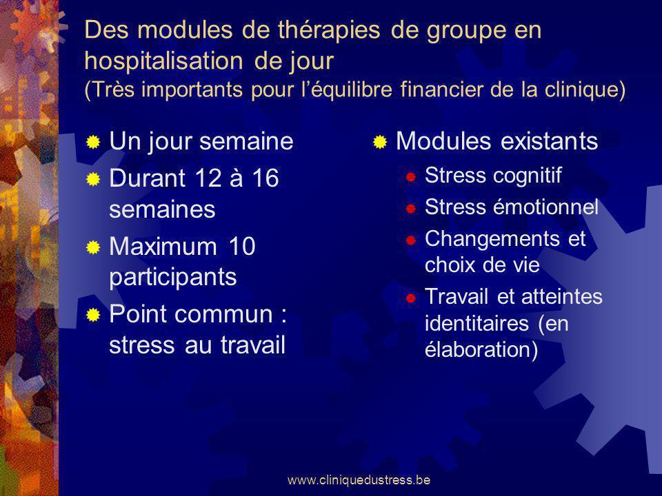 www.cliniquedustress.be Des modules de thérapies de groupe en hospitalisation de jour (Très importants pour léquilibre financier de la clinique) Un jo