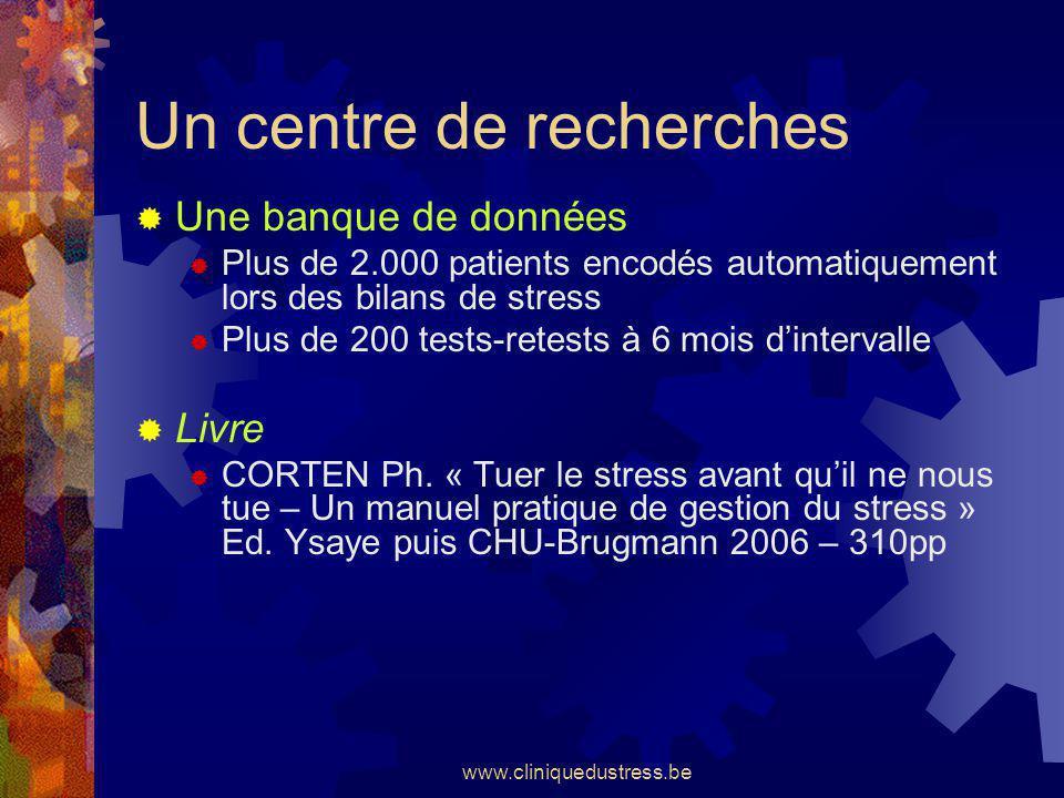 www.cliniquedustress.be Un centre de recherches Une banque de données Plus de 2.000 patients encodés automatiquement lors des bilans de stress Plus de