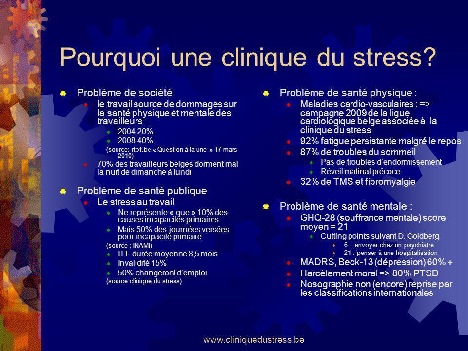 www.cliniquedustress.be Spécialisation psychopathologie du travail Stress pathologique Burn-Out Harcèlements Management par la peur Mixte: Travail / Vie privée