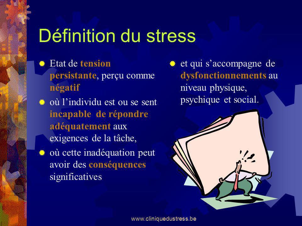 www.cliniquedustress.be Définition du stress et qui saccompagne de dysfonctionnements au niveau physique, psychique et social. Etat de tension persist