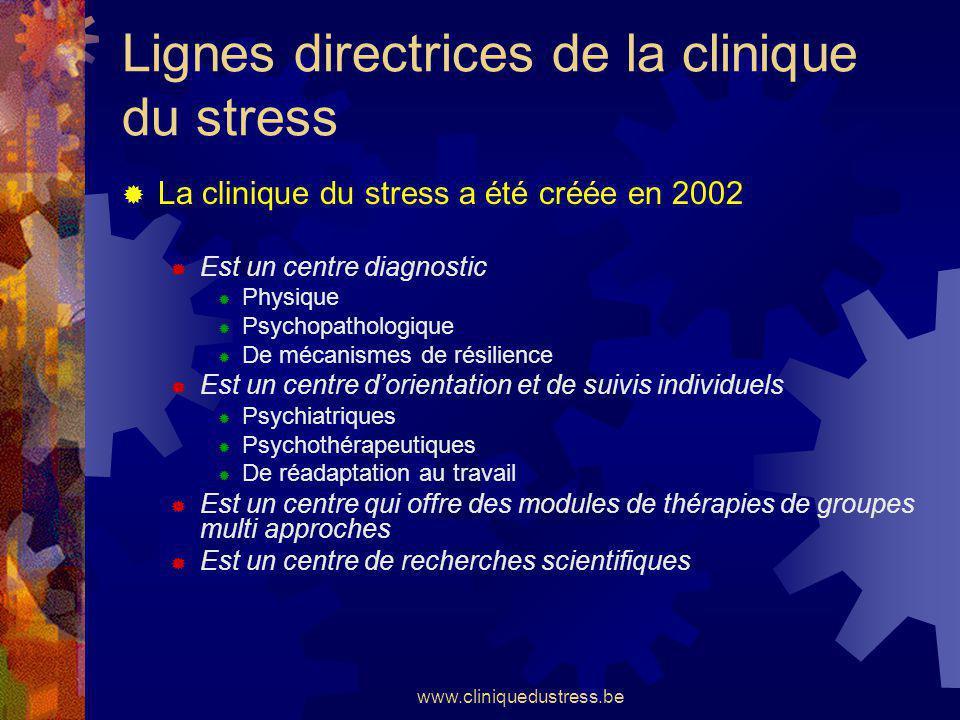 www.cliniquedustress.be Lignes directrices de la clinique du stress La clinique du stress a été créée en 2002 Est un centre diagnostic Physique Psycho
