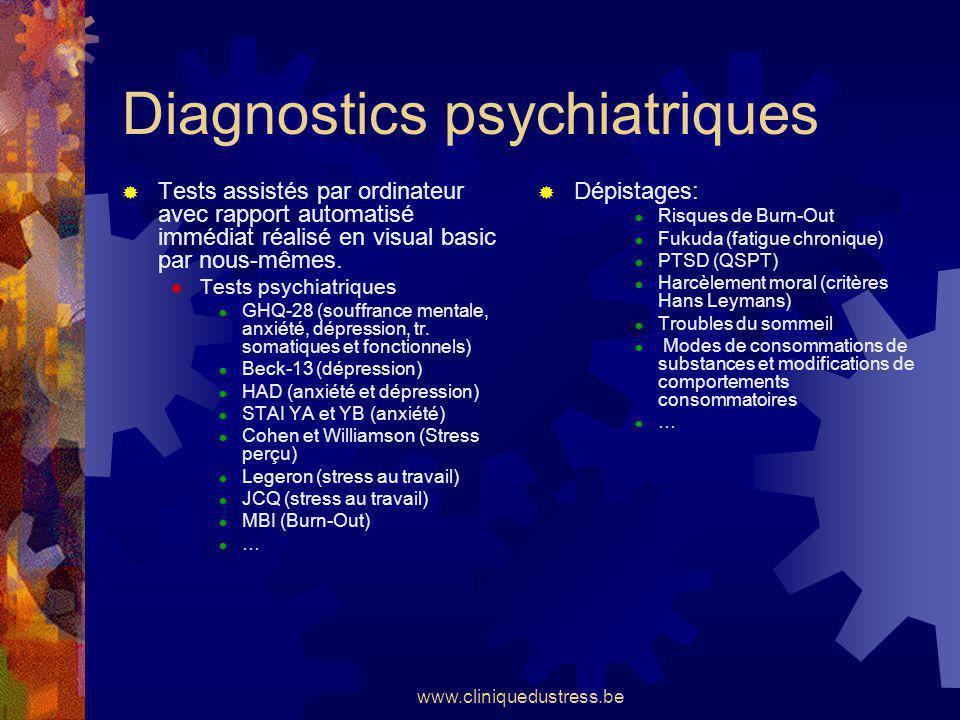 www.cliniquedustress.be Diagnostics psychiatriques Tests assistés par ordinateur avec rapport automatisé immédiat réalisé en visual basic par nous-mêm