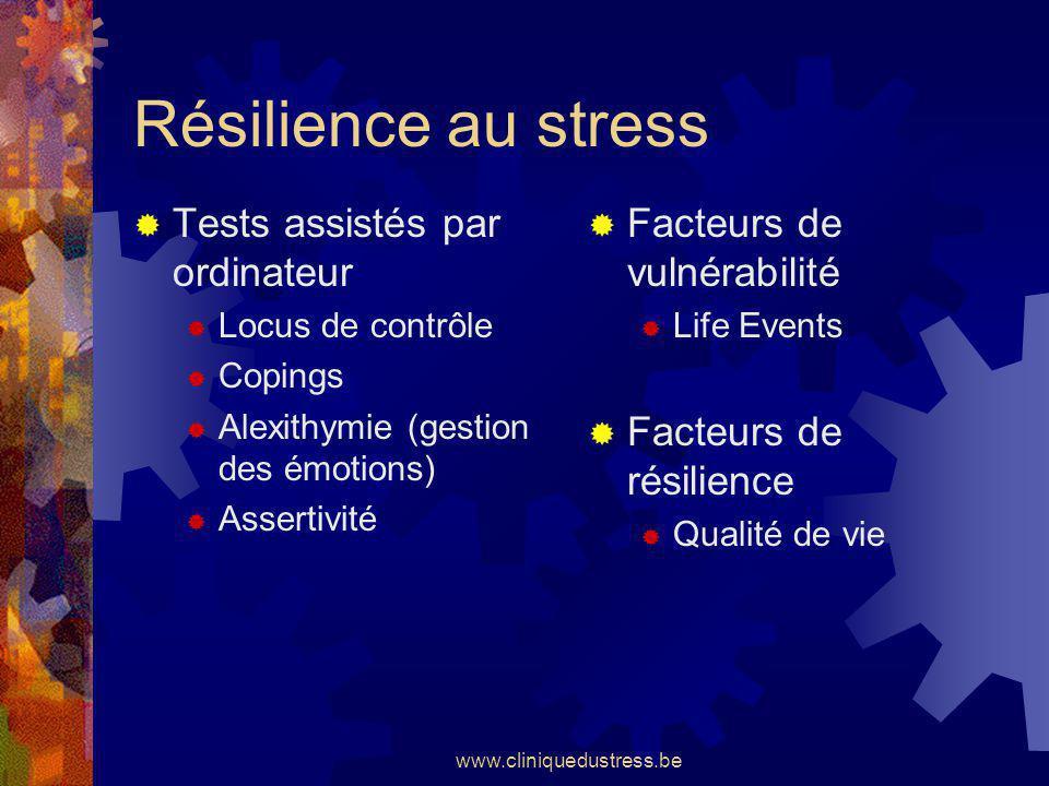 www.cliniquedustress.be Résilience au stress Tests assistés par ordinateur Locus de contrôle Copings Alexithymie (gestion des émotions) Assertivité Fa