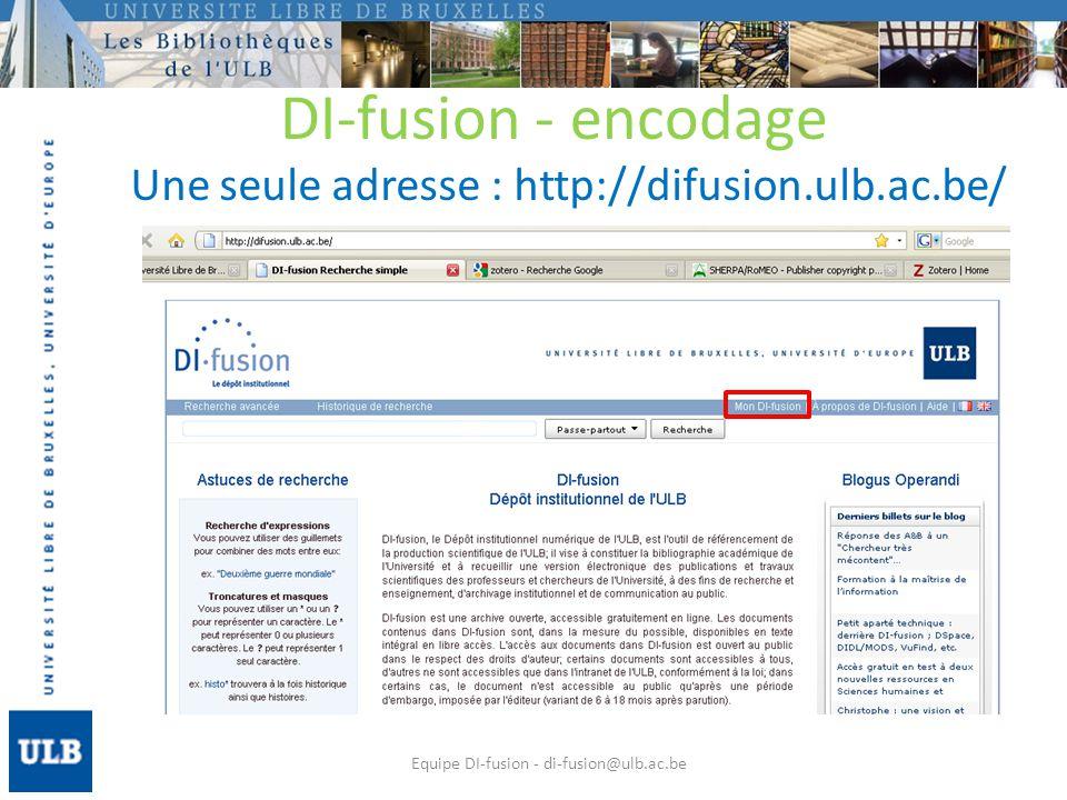 DI-fusion – interface de recherche Linterface permet de : Citer : copier/coller facilement la référence bibliographique de la publication Share : lenvoyer par mail, sur twitter, facebook, etc.