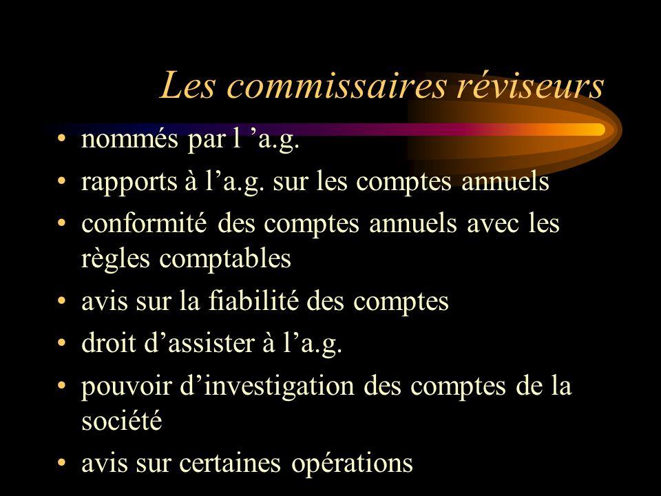 Les commissaires réviseurs nommés par l a.g.rapports à la.g.