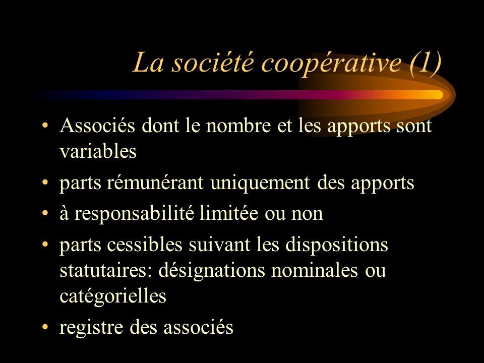 La société coopérative (1) Associés dont le nombre et les apports sont variables parts rémunérant uniquement des apports à responsabilité limitée ou non parts cessibles suivant les dispositions statutaires: désignations nominales ou catégorielles registre des associés
