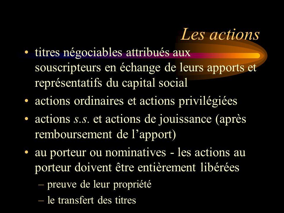 Les actions titres négociables attribués aux souscripteurs en échange de leurs apports et représentatifs du capital social actions ordinaires et actions privilégiées actions s.s.