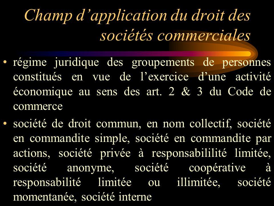 Champ dapplication du droit des sociétés commerciales régime juridique des groupements de personnes constitués en vue de lexercice dune activité écono