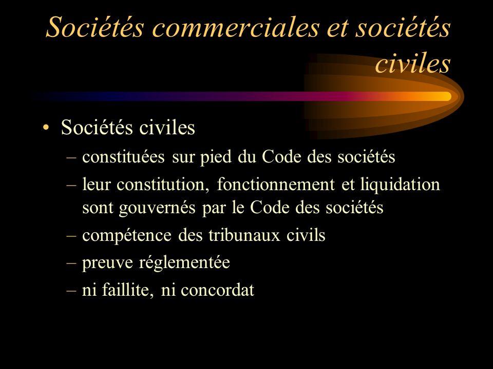 Sociétés commerciales et sociétés civiles Sociétés civiles –constituées sur pied du Code des sociétés –leur constitution, fonctionnement et liquidatio