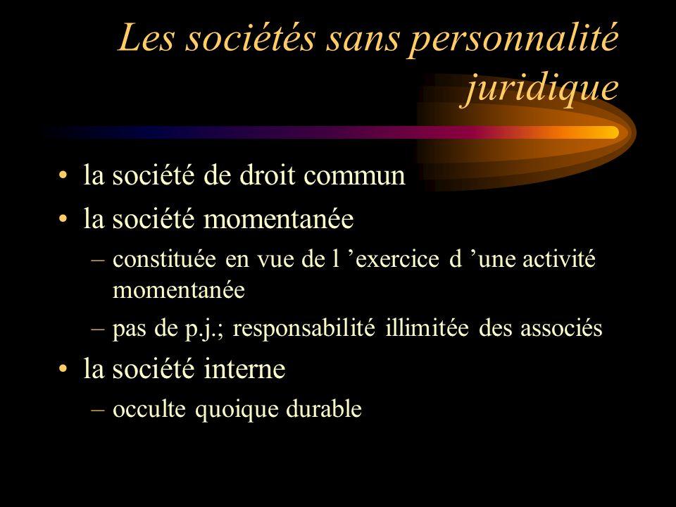 Les sociétés sans personnalité juridique la société de droit commun la société momentanée –constituée en vue de l exercice d une activité momentanée –