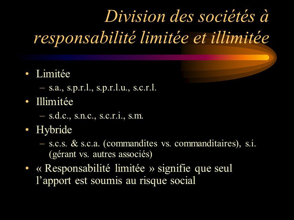 Division des sociétés à responsabilité limitée et illimitée Limitée –s.a., s.p.r.l., s.p.r.l.u., s.c.r.l. Illimitée –s.d.c., s.n.c., s.c.r.i., s.m. Hy