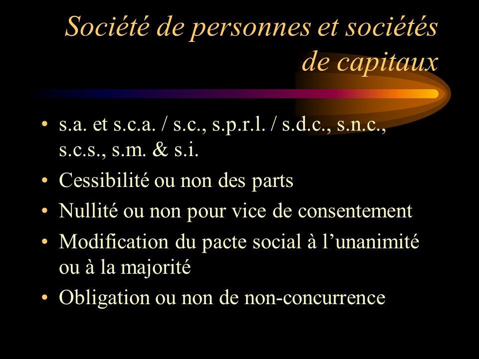 Société de personnes et sociétés de capitaux s.a. et s.c.a. / s.c., s.p.r.l. / s.d.c., s.n.c., s.c.s., s.m. & s.i. Cessibilité ou non des parts Nullit