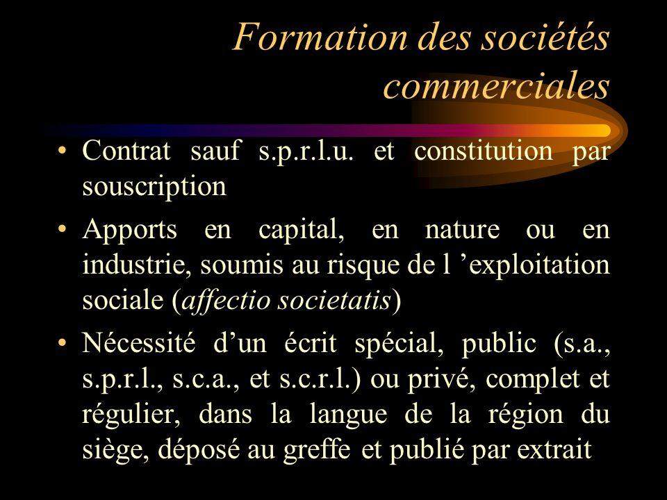 Formation des sociétés commerciales Contrat sauf s.p.r.l.u. et constitution par souscription Apports en capital, en nature ou en industrie, soumis au