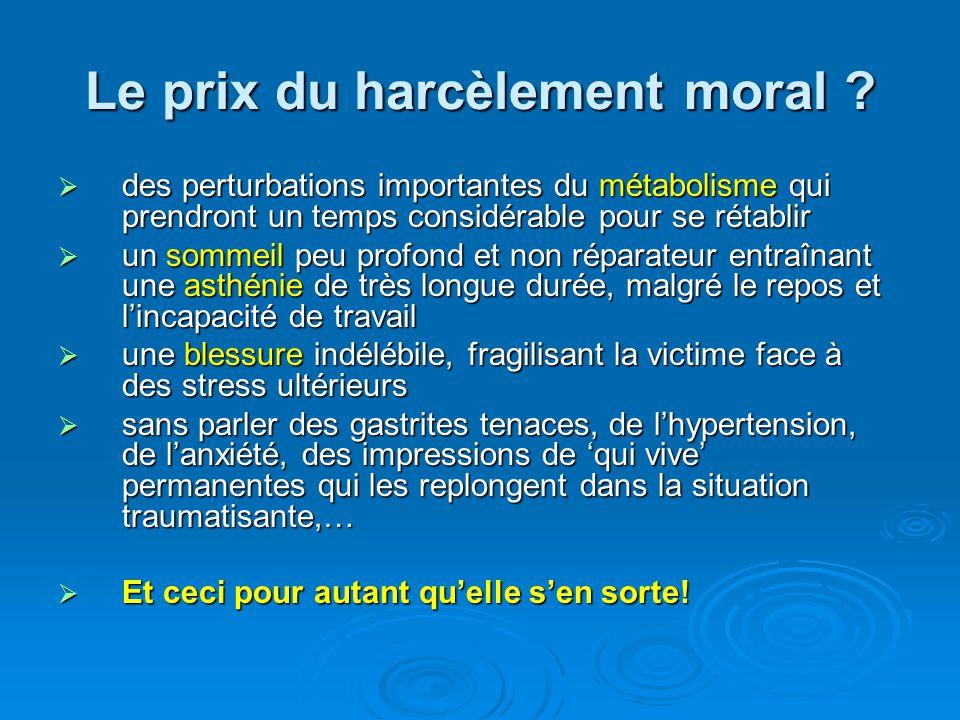 Le prix du harcèlement moral ? des perturbations importantes du métabolisme qui prendront un temps considérable pour se rétablir des perturbations imp