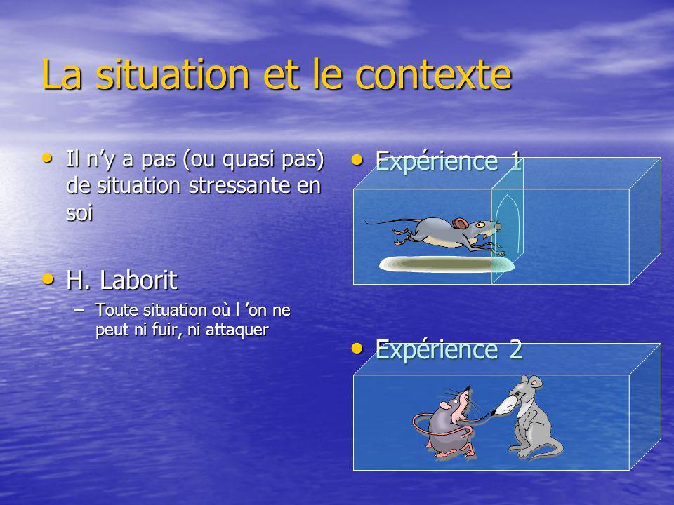 La situation et le contexte Il ny a pas (ou quasi pas) de situation stressante en soi Il ny a pas (ou quasi pas) de situation stressante en soi H. Lab