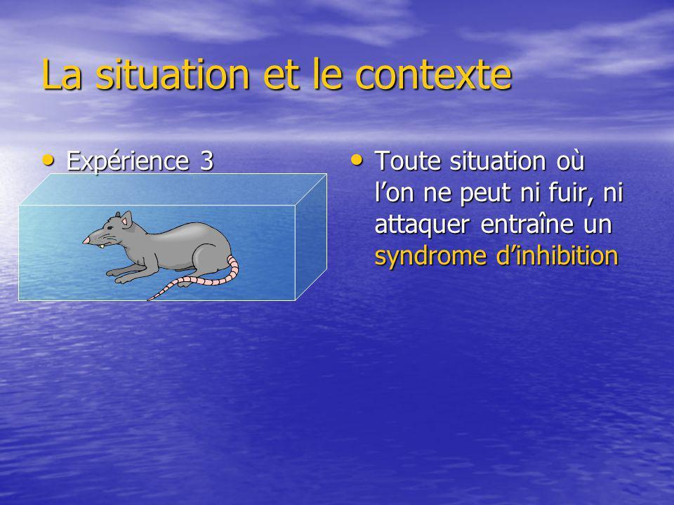 La situation et le contexte Expérience 3 Expérience 3 Toute situation où lon ne peut ni fuir, ni attaquer entraîne un syndrome dinhibition Toute situa