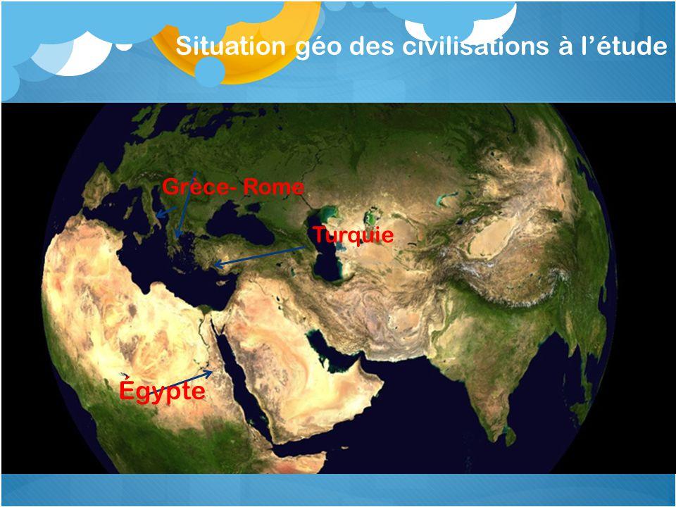 Situation géo des civilisations à létude Égypte Grèce- Rome Turquie