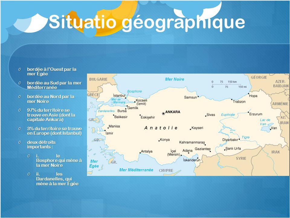 Situatio géographique bordée à lOuest par la mer Égée bordée au Sud par la mer Méditerranée bordée au Nord par la mer Noire 97% du territoire se trouv