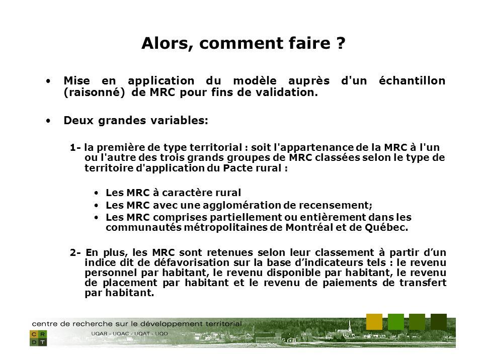 Mise en application du modèle auprès d'un échantillon (raisonné) de MRC pour fins de validation. Deux grandes variables: 1- la première de type territ