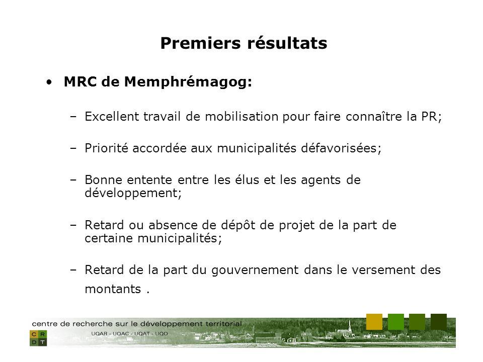 MRC de Memphrémagog: –Excellent travail de mobilisation pour faire connaître la PR; –Priorité accordée aux municipalités défavorisées; –Bonne entente entre les élus et les agents de développement; –Retard ou absence de dépôt de projet de la part de certaine municipalités; –Retard de la part du gouvernement dans le versement des montants.