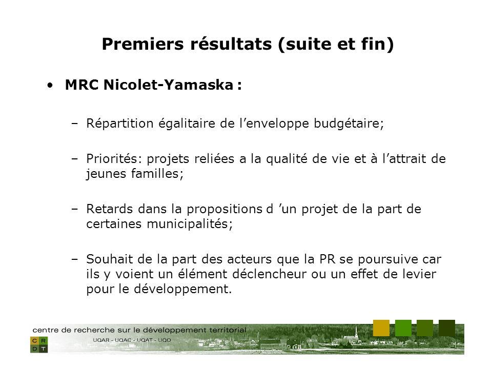 MRC Nicolet-Yamaska : –Répartition égalitaire de lenveloppe budgétaire; –Priorités: projets reliées a la qualité de vie et à lattrait de jeunes familles; –Retards dans la propositions d un projet de la part de certaines municipalités; –Souhait de la part des acteurs que la PR se poursuive car ils y voient un élément déclencheur ou un effet de levier pour le développement.