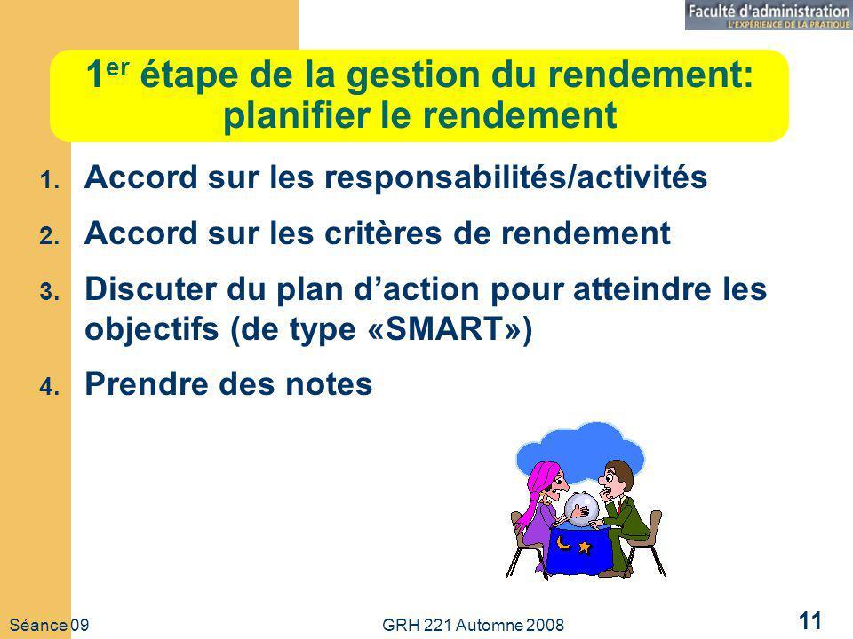 Séance 09 GRH 221 Automne 2008 11 1 er étape de la gestion du rendement: planifier le rendement 1. Accord sur les responsabilités/activités 2. Accord