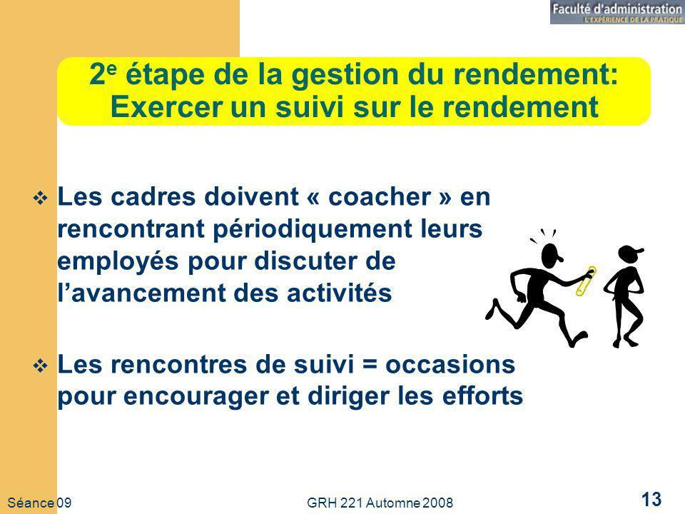 Séance 09 GRH 221 Automne 2008 13 2 e étape de la gestion du rendement: Exercer un suivi sur le rendement Les cadres doivent « coacher » en rencontran
