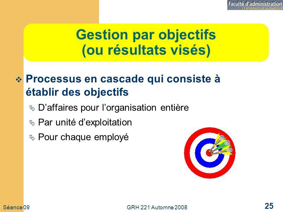 Séance 09 GRH 221 Automne 2008 25 Gestion par objectifs (ou résultats visés) Processus en cascade qui consiste à établir des objectifs Daffaires pour lorganisation entière Par unité dexploitation Pour chaque employé