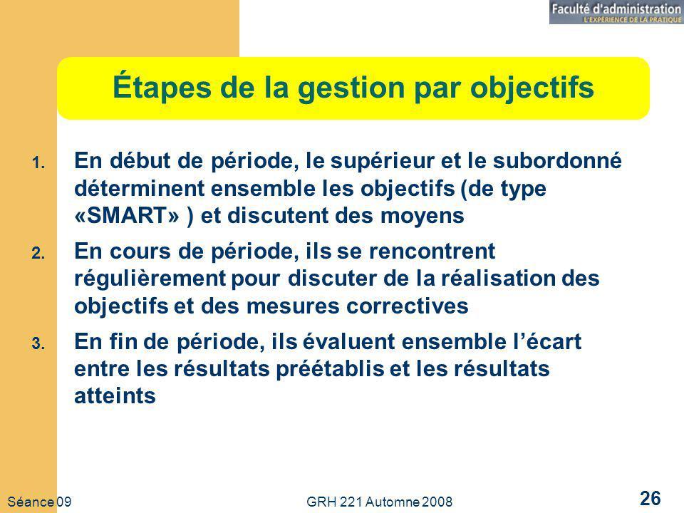 Séance 09 GRH 221 Automne 2008 26 Étapes de la gestion par objectifs 1.