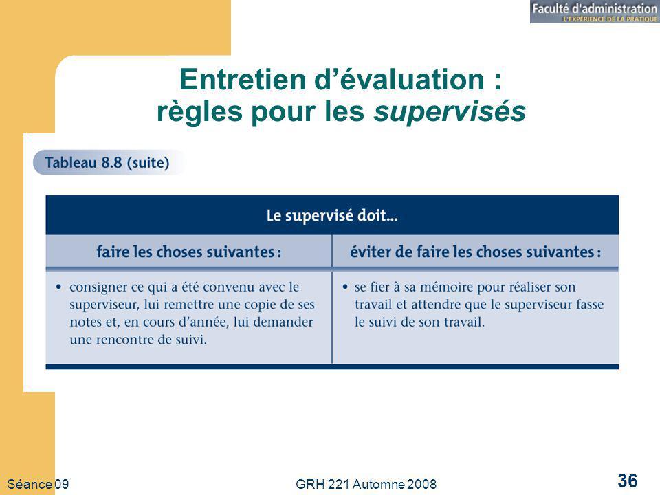 Séance 09 GRH 221 Automne 2008 36 Entretien dévaluation : règles pour les supervisés