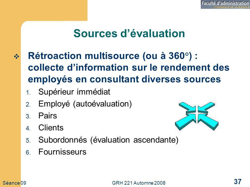 Séance 09 GRH 221 Automne 2008 37 Sources dévaluation Rétroaction multisource (ou à 360°) : collecte dinformation sur le rendement des employés en consultant diverses sources 1.
