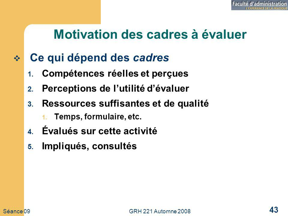Séance 09 GRH 221 Automne 2008 43 Motivation des cadres à évaluer Ce qui dépend des cadres 1. Compétences réelles et perçues 2. Perceptions de lutilit