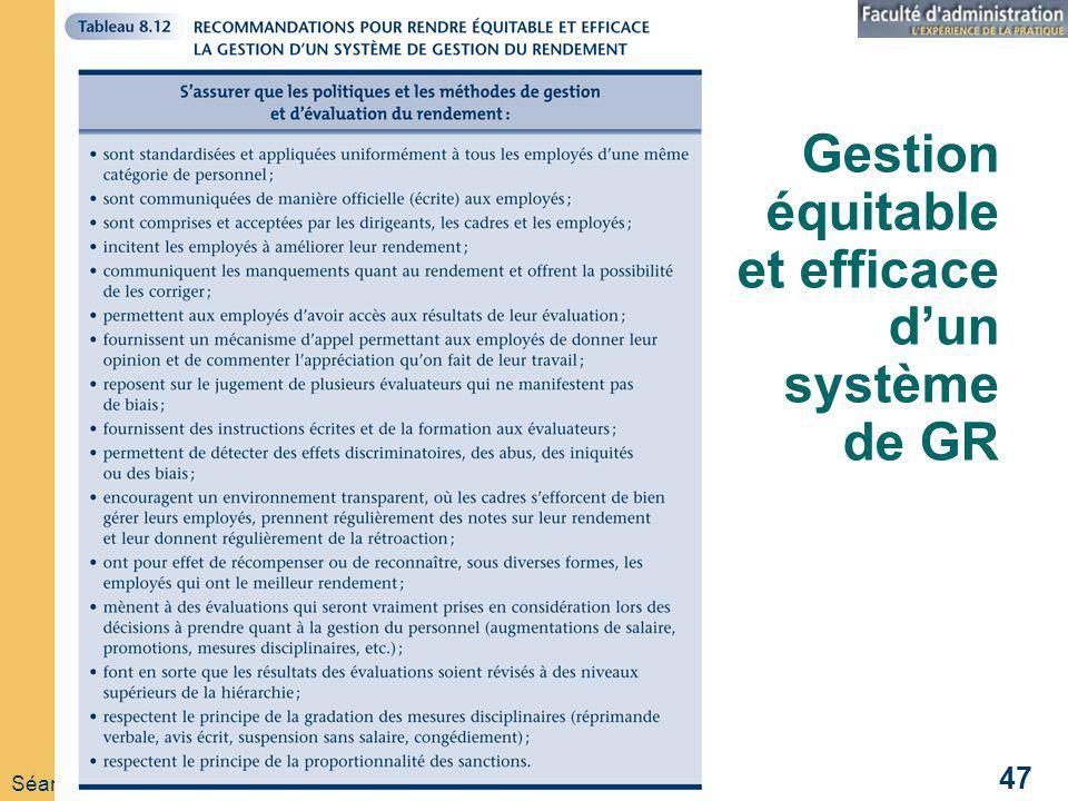 Séance 09 GRH 221 Automne 2008 47 Gestion équitable et efficace dun système de GR