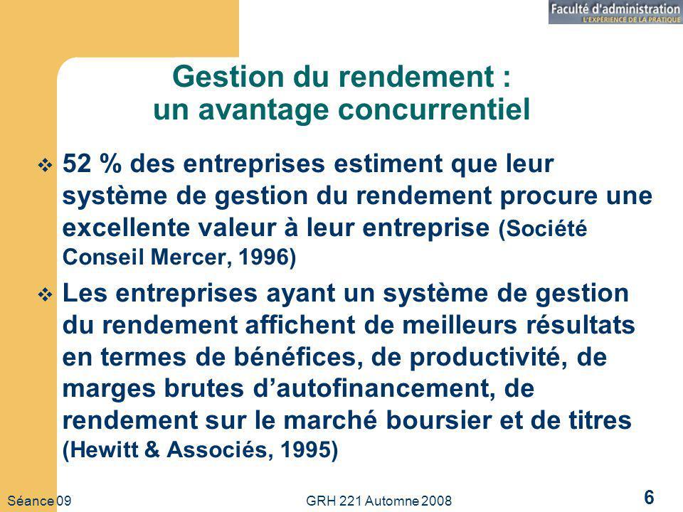 Séance 09 GRH 221 Automne 2008 6 Gestion du rendement : un avantage concurrentiel 52 % des entreprises estiment que leur système de gestion du rendeme