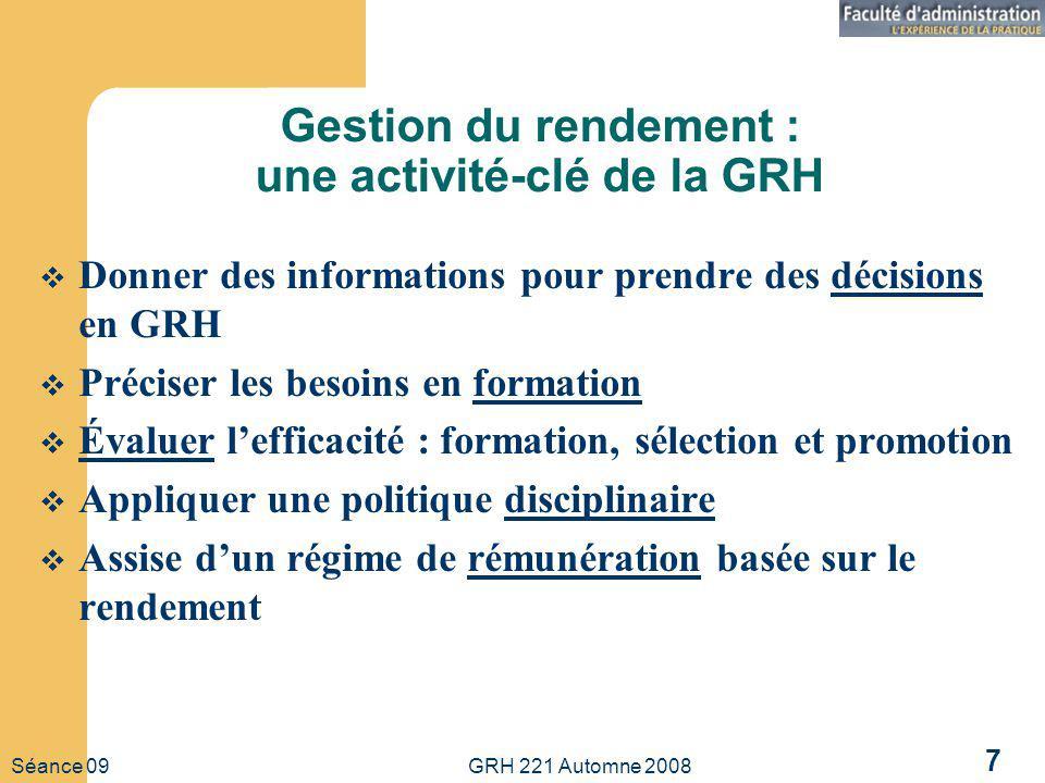 Séance 09 GRH 221 Automne 2008 7 Gestion du rendement : une activité-clé de la GRH Donner des informations pour prendre des décisions en GRH Préciser