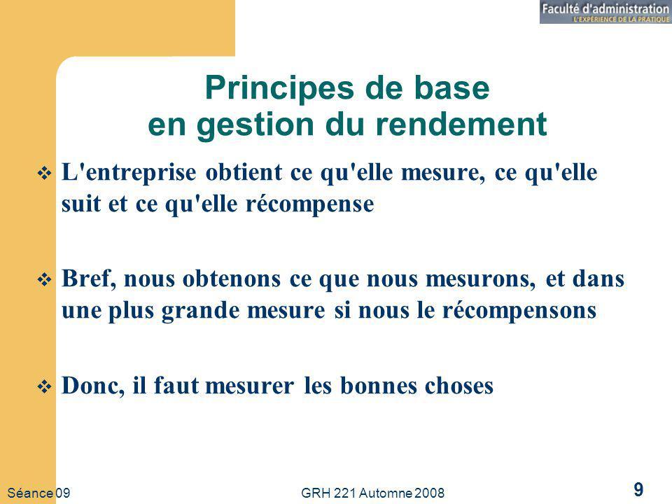 Séance 09 GRH 221 Automne 2008 9 Principes de base en gestion du rendement L entreprise obtient ce qu elle mesure, ce qu elle suit et ce qu elle récompense Bref, nous obtenons ce que nous mesurons, et dans une plus grande mesure si nous le récompensons Donc, il faut mesurer les bonnes choses