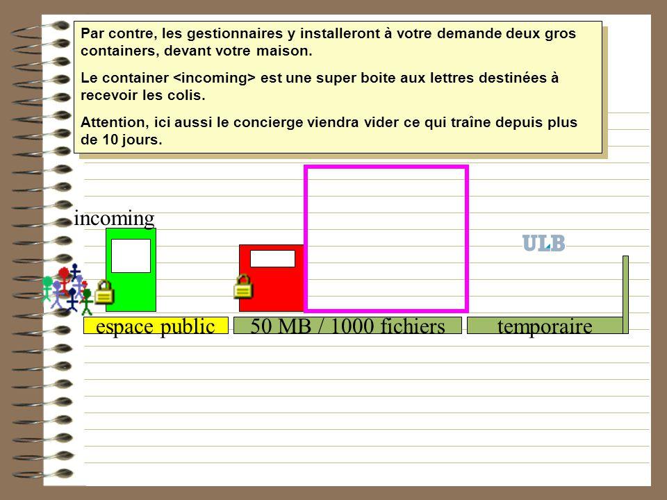 50 MB / 1000 fichierstemporaireespace public incoming Par contre, les gestionnaires y installeront à votre demande deux gros containers, devant votre