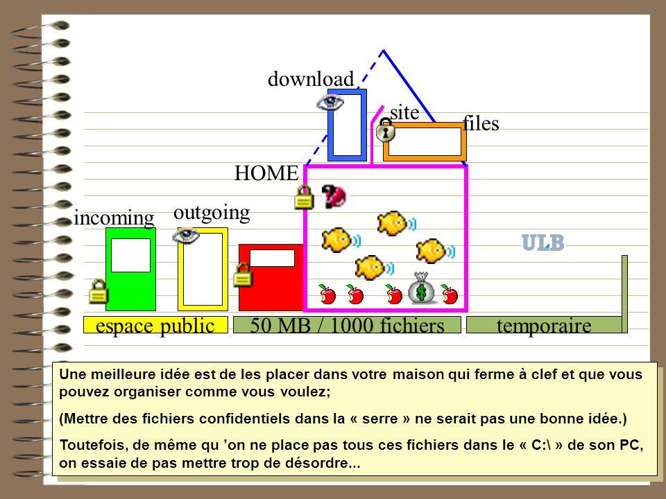 50 MB / 1000 fichiers HOME temporaireespace public incoming outgoing site download files Une meilleure idée est de les placer dans votre maison qui fe