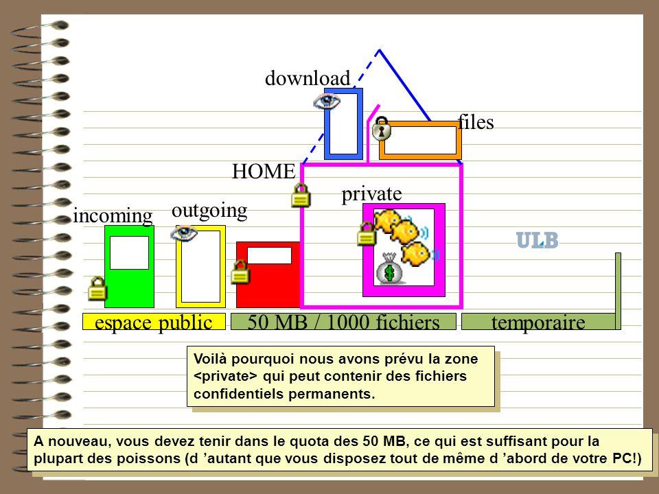 50 MB / 1000 fichiers HOME temporaireespace public incoming outgoing download files private Voilà pourquoi nous avons prévu la zone qui peut contenir