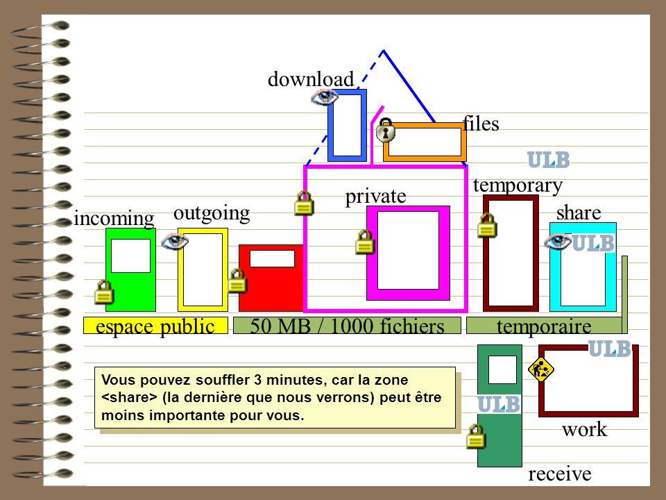 50 MB / 1000 fichierstemporaireespace public incoming outgoing download files private temporary share Vous pouvez souffler 3 minutes, car la zone (la