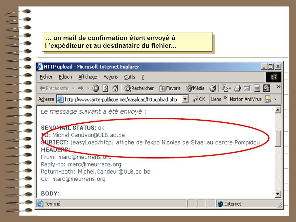 … un mail de confirmation étant envoyé à l expéditeur et au destinataire du fichier...