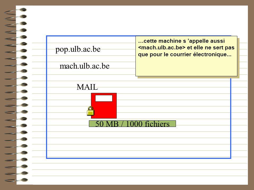 50 MB / 1000 fichiers MAIL pop.ulb.ac.be mach.ulb.ac.be …cette machine s appelle aussi et elle ne sert pas que pour le courrier électronique...