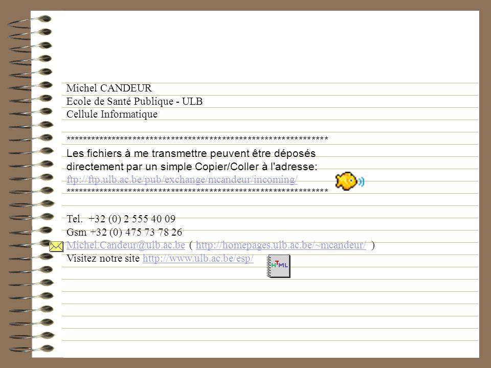 Michel CANDEUR Ecole de Santé Publique - ULB Cellule Informatique ************************************************************** Les fichiers à me tra