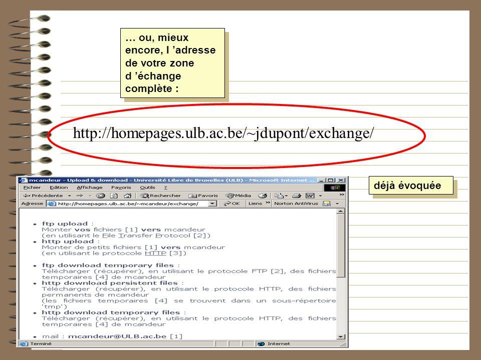 … ou, mieux encore, l adresse de votre zone d échange complète : http://homepages.ulb.ac.be/~jdupont/exchange/ déjà évoquée