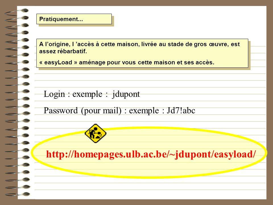 Pratiquement... Login : exemple : jdupont Password (pour mail) : exemple : Jd7!abc A lorigine, l accès à cette maison, livrée au stade de gros œuvre,
