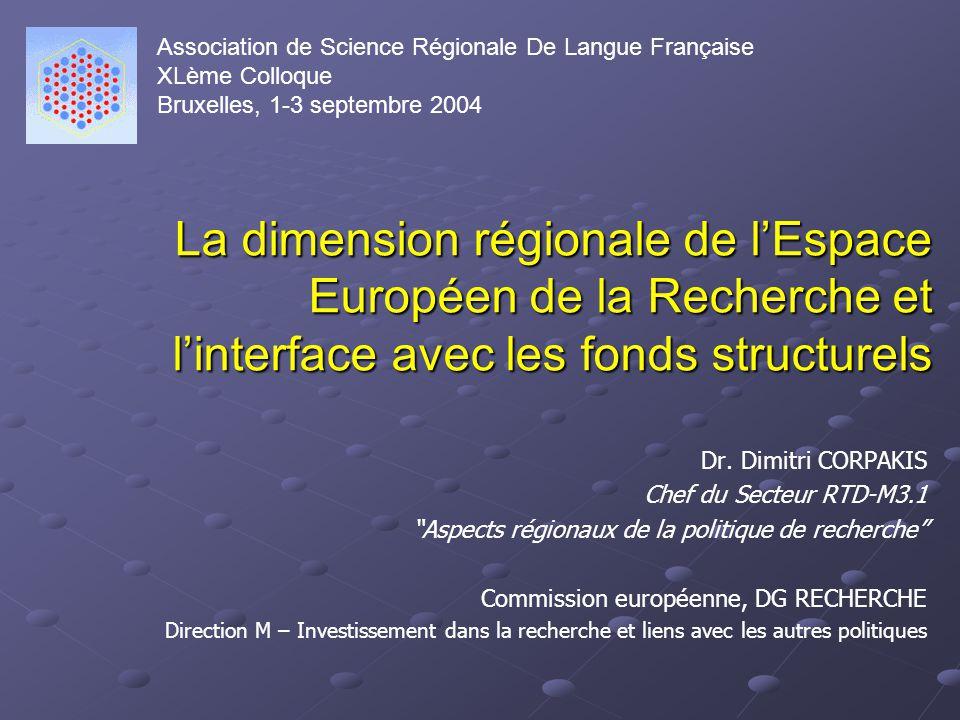 La dimension régionale de lEspace Européen de la Recherche et linterface avec les fonds structurels Dr.