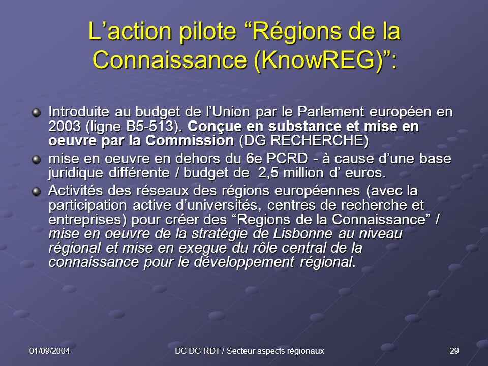 2901/09/2004DC DG RDT / Secteur aspects régionaux Laction pilote Régions de la Connaissance (KnowREG): Introduite au budget de lUnion par le Parlement européen en 2003 (ligne B5-513).
