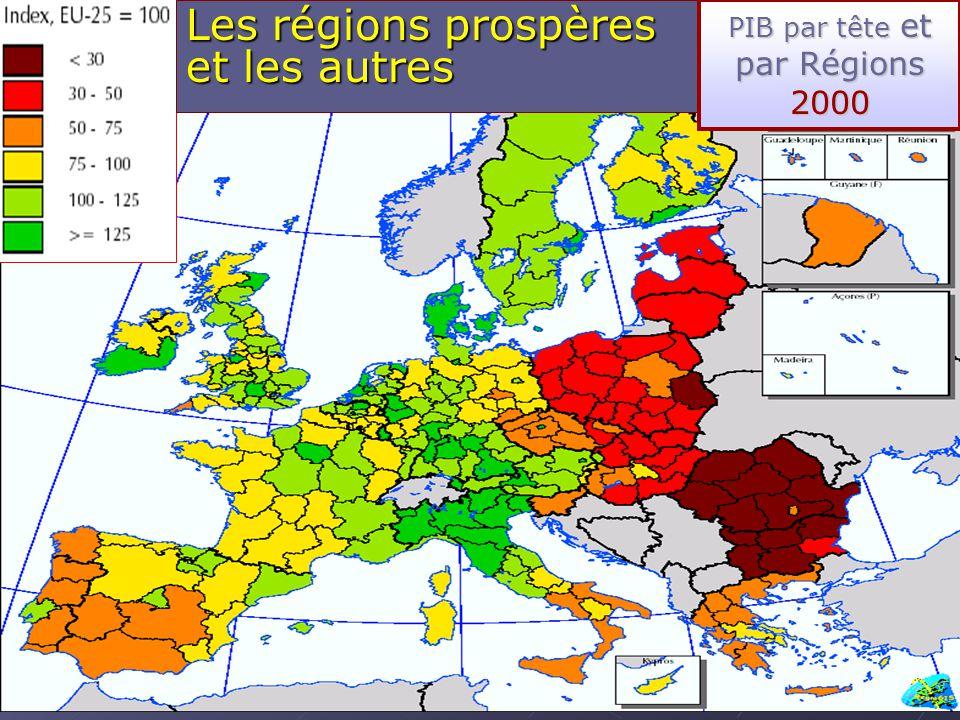 501/09/2004DC DG RDT / Secteur aspects régionaux Les régions prospères et les autres PIB par tête et par Régions 2000