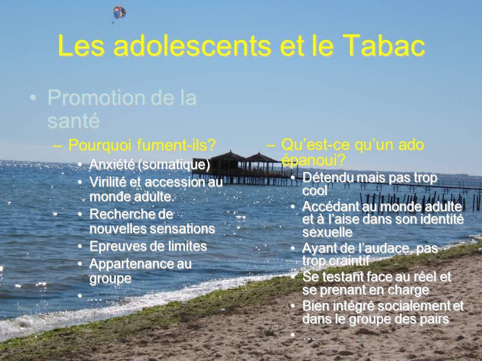 Les adolescents et le Tabac Position paradigmatiquePosition paradigmatique –Si nous leur apportons (ou sils trouvent par eux-mêmes) des réponses adéquates pour atteindre ces objectifs, pourquoi les chercheraient-ils dans le tabac.