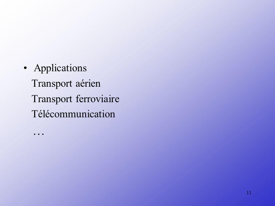 11 Applications Transport aérien Transport ferroviaire Télécommunication …